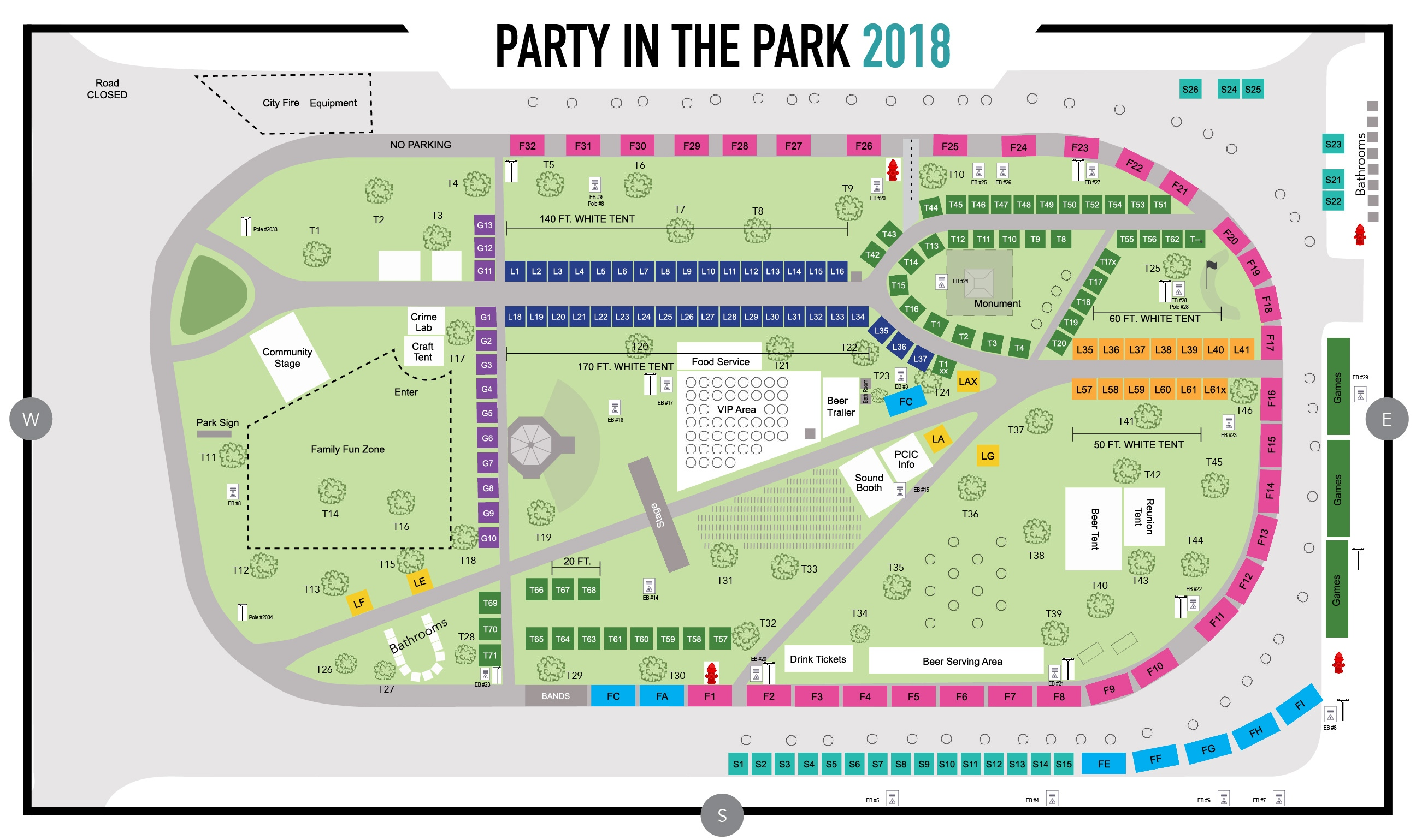 2018 Party In The Park Veterans Park Map
